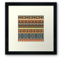 Colorful  tribal pattern with geometric elements Framed Print