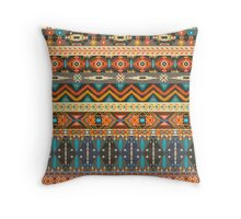 Colorful  tribal pattern with geometric elements Throw Pillow