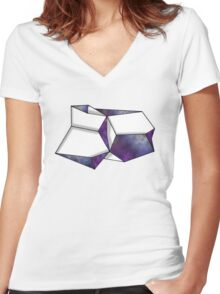 Space Folded Women's Fitted V-Neck T-Shirt