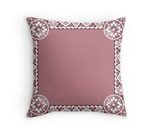 White lace frame with flowers and lacy elements on dark pink background Throw Pillow