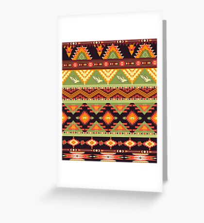Seamless colorful aztec pattern with birds and arrow Greeting Card