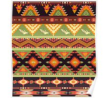 Seamless colorful aztec pattern with birds and arrow Poster
