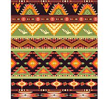 Seamless colorful aztec pattern with birds and arrow Photographic Print