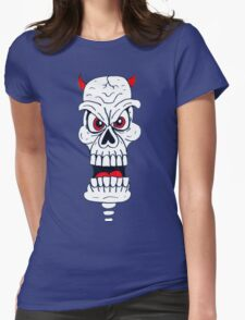 Doodle Devil Skull Womens Fitted T-Shirt