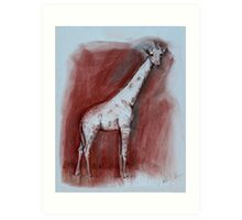 Safari Giraffe Charcoal Art Print