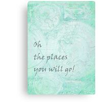 Mint Green World Map Inspirational Quote, back to school Canvas Print