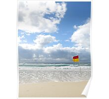 beautiful beach with a flag Poster