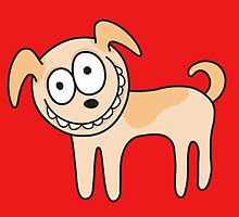 Funny, crazy dog, red background by MheaDesign
