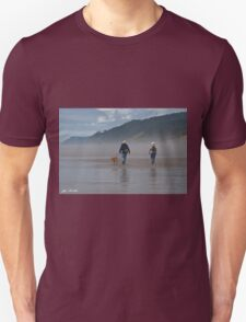 Elderly Couple Walking a Dog Unisex T-Shirt