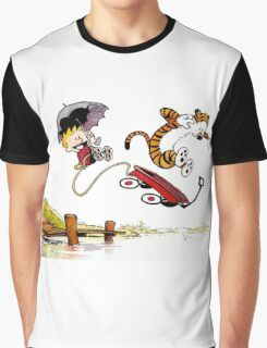 Calvin And Hobbes Jumping Graphic T-Shirt