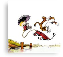 Calvin And Hobbes Jumping Canvas Print