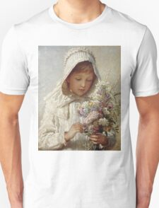 Karl Wilhelm Friedrich Bauerle - The Month Of September. Girl portrait: cute girl, girly, female, pretty angel, child, beautiful dress, face with hairs, smile, little, kids, baby Unisex T-Shirt