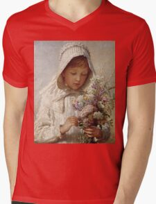 Karl Wilhelm Friedrich Bauerle - The Month Of September. Girl portrait: cute girl, girly, female, pretty angel, child, beautiful dress, face with hairs, smile, little, kids, baby Mens V-Neck T-Shirt