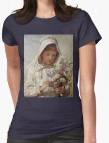 Karl Wilhelm Friedrich Bauerle - The Month Of September. Girl portrait: cute girl, girly, female, pretty angel, child, beautiful dress, face with hairs, smile, little, kids, baby Womens Fitted T-Shirt