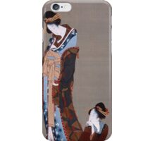 Katsushika Hokusai - Two Beauties. Woman portrait: lady, woman , beautiful dress, female style, courtesan, hairstyle,  kimono, romance,  traditional dress, femine, home society iPhone Case/Skin