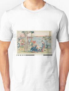 Katsushika Hokusai - Woodcut. geisha portrait : geisha, samurai, clothes,  costume, love relations,  hairstyle, traditional costume, traditional dress, traditional dress, river, mount Unisex T-Shirt