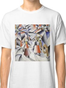 Kazimir Malevich - Morning In The Village After Snowstorm. Abstract painting: abstract art, winter, village, snowstorm, lines, forms, creative fusion, spot, shape, illusion, fantasy future Classic T-Shirt