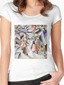 Kazimir Malevich - Morning In The Village After Snowstorm. Abstract painting: abstract art, winter, village, snowstorm, lines, forms, creative fusion, spot, shape, illusion, fantasy future Women's Fitted Scoop T-Shirt