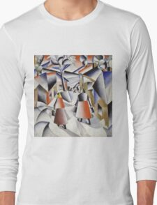Kazimir Malevich - Morning In The Village After Snowstorm. Abstract painting: abstract art, winter, village, snowstorm, lines, forms, creative fusion, spot, shape, illusion, fantasy future Long Sleeve T-Shirt