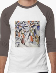 Kazimir Malevich - Morning In The Village After Snowstorm. Abstract painting: abstract art, winter, village, snowstorm, lines, forms, creative fusion, spot, shape, illusion, fantasy future Men's Baseball ¾ T-Shirt