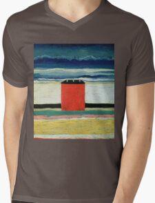 Kazimir Malevich - Red House. Abstract painting:  beach, building, sea,  house, horizon,  water, creative fusion, spot, shape, illusion, fantasy future Mens V-Neck T-Shirt