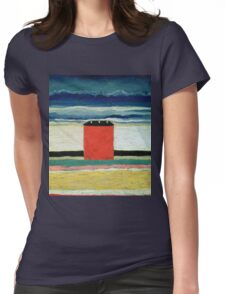 Kazimir Malevich - Red House. Abstract painting:  beach, building, sea,  house, horizon,  water, creative fusion, spot, shape, illusion, fantasy future Womens Fitted T-Shirt