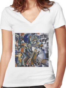 Kazimir Malevich - The Knife Grinder Or Principle Of Glittering. Abstract painting: art, geometric, expressionism, composition, lines, forms, creative fusion, spot, shape, illusion, fantasy future Women's Fitted V-Neck T-Shirt