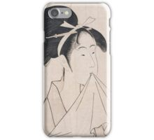 Kitagawa Utamaro - A Bust Portrait Of Okita Of The Naniwaya. Woman portrait: sensual woman, geisha, female style, traditional dress, femine, beautiful dress, headdress,  courtesans, sexy lady iPhone Case/Skin