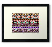 Aztec pattern with geometric elements Framed Print