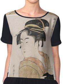 Kitagawa Utamaro - A Bust Portrait Of The Waitress Okita Of The Naniwaya Teahouse. Woman portrait: sensual woman, geisha, female style, femine, headdress,  hairstyle, courtesans Chiffon Top