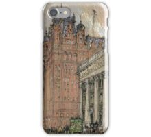 Joseph Pennell - Waldorf Astoria Hotel. Urban landscape: city view, streets, building, house, trees, cityscape, architecture, construction, travel landmarks, panorama garden, buildings iPhone Case/Skin