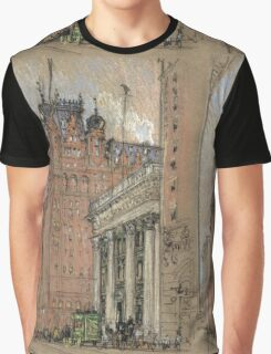 Joseph Pennell - Waldorf Astoria Hotel. Urban landscape: city view, streets, building, house, trees, cityscape, architecture, construction, travel landmarks, panorama garden, buildings Graphic T-Shirt
