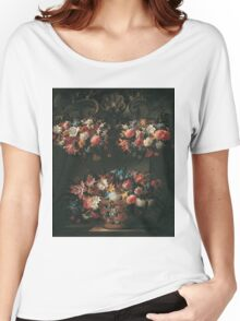 Juan De Arellano - Still Life With Flowers 1660. Still life with flowers: blossom, nature, botanical, floral flora, wonderful flower, plants, cute plant for kitchen interior, garden, vase Women's Relaxed Fit T-Shirt
