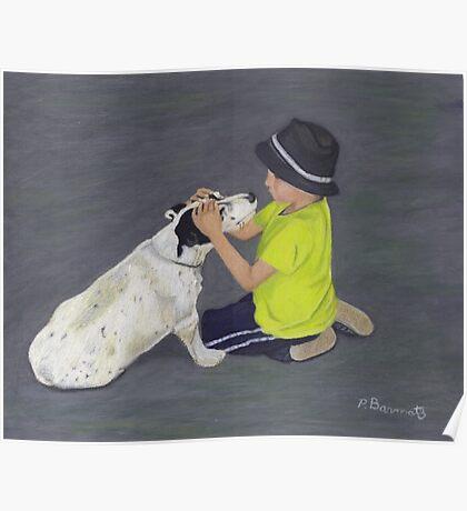 Little Boy and Bull Terrier Dog Poster