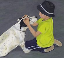 Little Boy and Bull Terrier Dog by Patricia Barmatz