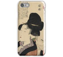 Kitagawa Utamaro - A Detestable Manner From A Parent's Moralizing Spectacles. Woman portrait: sensual woman, geisha, female style, femine, hairstyle, courtesans, sexy lady iPhone Case/Skin