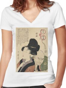 Kitagawa Utamaro - A Detestable Manner From A Parent's Moralizing Spectacles. Woman portrait: sensual woman, geisha, female style, femine, hairstyle, courtesans, sexy lady Women's Fitted V-Neck T-Shirt