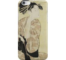 Kitagawa Utamaro - A Portrait Of The Highest Rank Courtesan, Hanaogi. Woman portrait: sensual woman, geisha, female style, pretty women, femine, beautiful dress, cute, headdress, love, erotic pose iPhone Case/Skin
