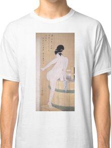 Kitagawa Utamaro - Bathing In Cold Water 1799. Woman portrait: sensual woman, geisha, female style, pretty women, femine, beautiful dress, cute, headdress, love, sexy lady, erotic pose Classic T-Shirt