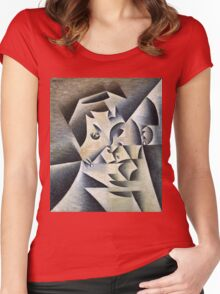Juan Gris - Portrait Of Josette. Abstract painting: abstract art, geometric, expressionism, composition, lines, forms, creative fusion, spot, shape, illusion, fantasy future Women's Fitted Scoop T-Shirt