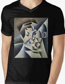 Juan Gris - Portrait Of Josette. Abstract painting: abstract art, geometric, expressionism, composition, lines, forms, creative fusion, spot, shape, illusion, fantasy future Mens V-Neck T-Shirt