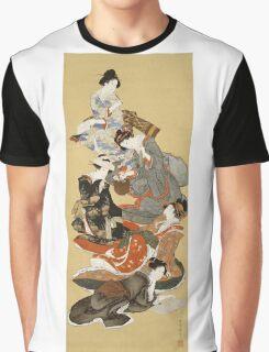 Katsushika Hokusai - Five Beautiful Women. Geisha portrait: Geisha, japanese, courtesan, pretty women, femine, beautiful dress, sleeping, asleep, love, sexy lady, erotic pose Graphic T-Shirt