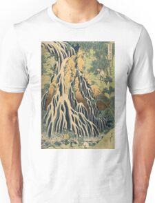 Katsushika Hokusai - Kirifuri Waterfall On Mount Kurokami In Shimotsuke Province . Kirifuri Waterfall landscape: trees,  Waterfall, cascade, riverside, fall, sun and clouds, nautical panorama Unisex T-Shirt