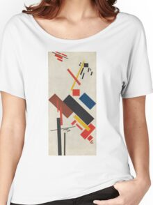 Kazimir Malevich - Stroyuschiysya Dom. Abstract painting: abstract art, geometric, expressionism, composition, lines, forms, creative fusion, spot, shape, illusion, fantasy future Women's Relaxed Fit T-Shirt