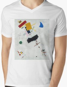 Kazimir Malevich - Suprematism. Abstract painting: abstract art, geometric, expressionism, composition, lines, forms, creative fusion, spot, shape, illusion, fantasy future Mens V-Neck T-Shirt