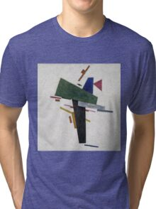 Kazimir Malevich - Untitled. Abstract painting: abstract art, geometric, expressionism, composition, lines, forms, creative fusion, spot, shape, illusion, fantasy future Tri-blend T-Shirt