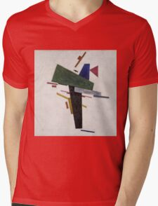 Kazimir Malevich - Untitled. Abstract painting: abstract art, geometric, expressionism, composition, lines, forms, creative fusion, spot, shape, illusion, fantasy future Mens V-Neck T-Shirt