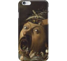 Joos Van Craesbeeck - The Temptation Of Saint Anthony. Man portrait: giant , gigantic, head, eyes, mouth, nose,  painting, medieval, anthony, saint, Flemish iPhone Case/Skin