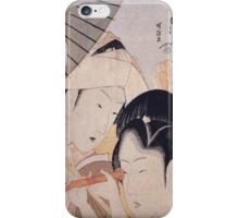 Katsushika Hokusai - Two Ladies With A Telescope. Woman portrait: sensual lady, beautiful dress, female style, hairstyle, beautiful dress,  kimono, sexy lady, courtesan iPhone Case/Skin