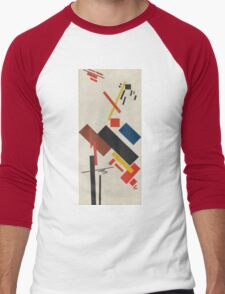 Kazimir Malevich - Stroyuschiysya Dom. Abstract painting: abstract art, geometric, expressionism, composition, lines, forms, creative fusion, spot, shape, illusion, fantasy future Men's Baseball ¾ T-Shirt